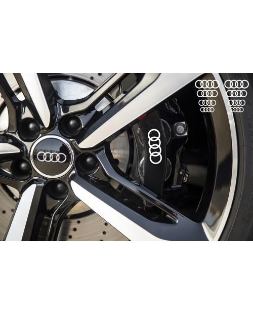 Aufkleber passend für Audi Ringe Bremssattel Felgen Spiegel Fenster Aufkleber 8 Stück 30mm - 17mm