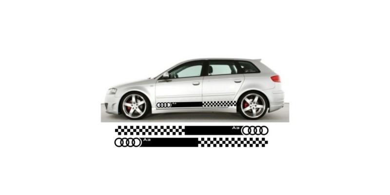 Decal to fit Audi A3 side decal sticker stripe kit