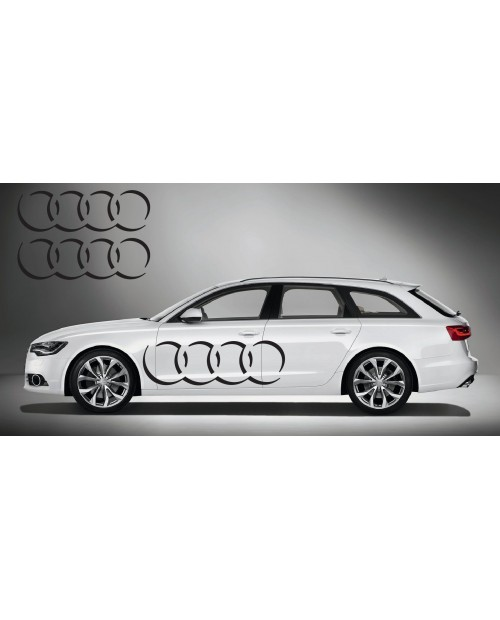 Aufkleber passend für Audi Ringe side Aufkleber 2Stk. Satz 150cm