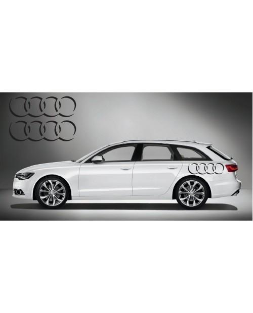Aufkleber passend für Audi Ringe side Aufkleber 2Stk. Satz 80cm