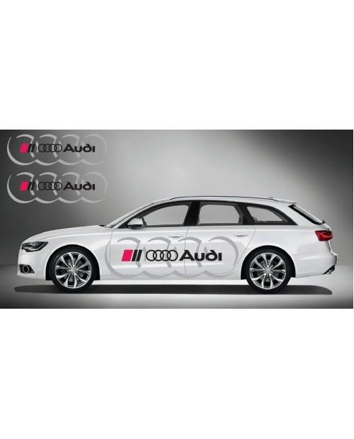Aufkleber passend für Audi Ringe side Aufkleber 2Stk. Satz 180cm