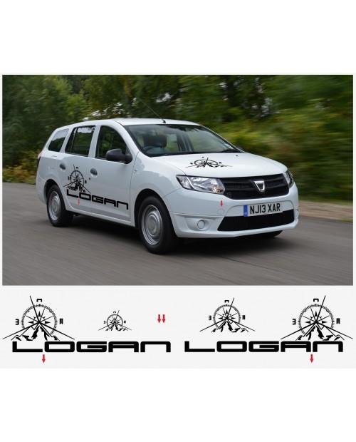 Aufkleber passend für Dacia Logan Aufkleber Seiten- Hauben- Heckaufkleber komplet Satz