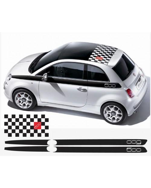 Aufkleber passend für Fiat 500 Dach- Seitenaufkleber Satz