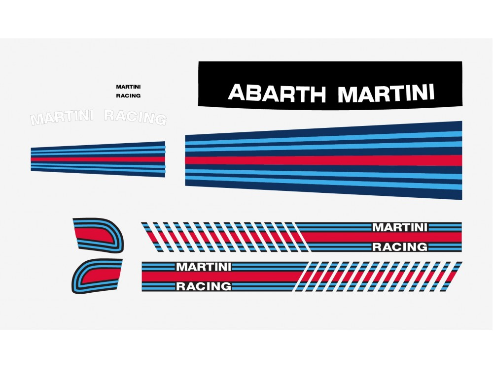 decal to fit fiat 500 abarth martini racing decal set 9pcs. Black Bedroom Furniture Sets. Home Design Ideas