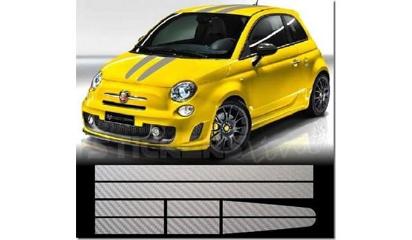 Aufkleber passend für Fiat 500 Abarth Aufkleber Rennstreiffen Satz