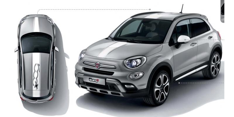 Aufkleber passend für Fiat 500 X Aufkleber 2Stk. Dachaufkleber Haubenaufkleber Satz