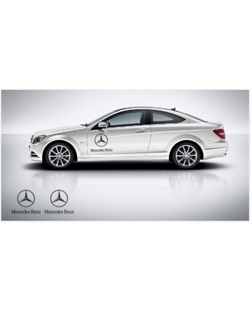 Aufkleber passend für Mercedes Benz Seitenaufkleber mir Stern logo 50cm 2Stk. Satz