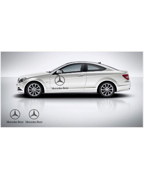 Aufkleber passend für Mercedes Benz Seitenaufkleber mir Stern logo 60cm 2Stk. Satz