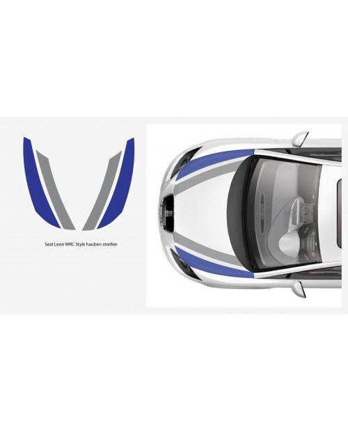 Aufkleber passend für Seat Leon WRC Haubenstreifen 4Stk. Satz