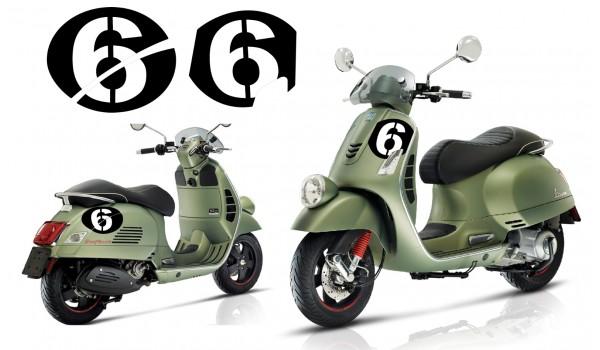 Vespa Sei Giorni GT GTS Super '6' Aufkleber Dekor Satz V.3 Schwarz - Weiß