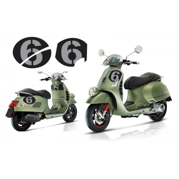 Vespa Sei Giorni GT GTS Super '6' Decal Set V.3 Black – Silver