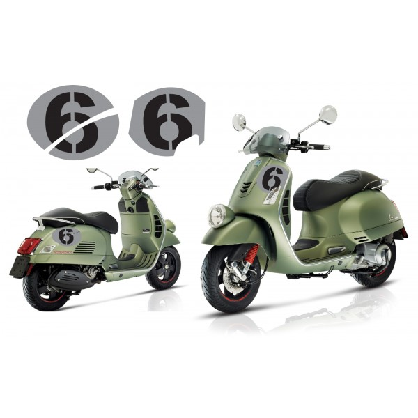 Vespa Sei Giorni GT GTS Super '6' Decal Set V.3 Silver – Black
