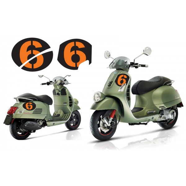 Vespa Sei Giorni GT GTS Super '6' Decal Set V.3 Black – Orange
