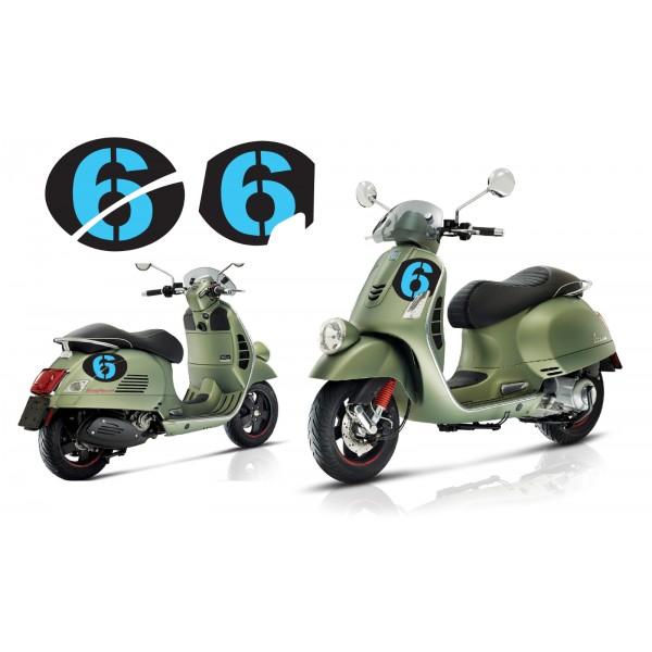 Vespa Sei Giorni GT GTS Super '6' Aufkleber Dekor Satz V.3 Schwarz - Licht Blau