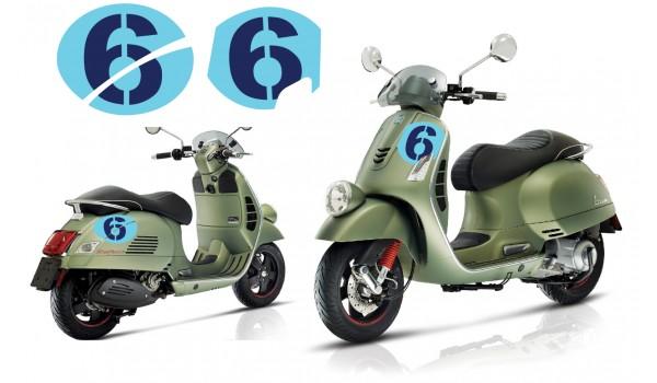 Vespa Sei Giorni GT GTS Super '6' Aufkleber Satz V.3 Licht Blau - Dunkel Blau