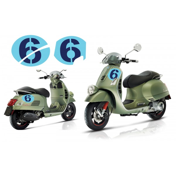 Vespa Sei Giorni GT GTS Super '6' Decal Set V.3 Light Blue – Dark Blue