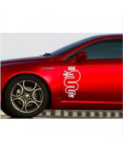 Aufkleber passend für Alfa Romeo Schlange Biscione Aufkleber Seitenaufkleber Satz 2 Stk. L+R 48cm