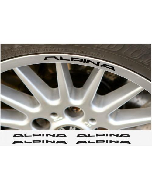 Aufkleber passend für Alpina Felgen- Fenster- Bremssattel- Spiegel Aufkleber – 4 Stück 120mm