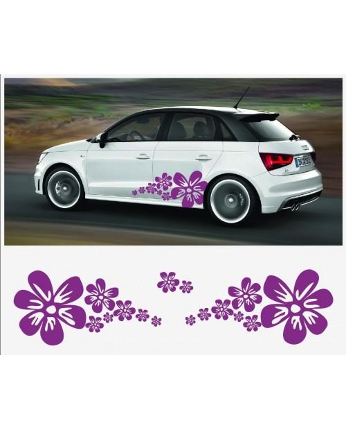 Aufkleber passend für Audi A1 Seitenaufkleber Aufkleber Satz Blume Flower Power Lavandel