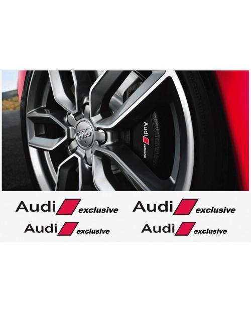 Aufkleber passend für Audi Bremssattel Aufkleber Audi exclusive 4Stk. Satz 120mm + 100mm