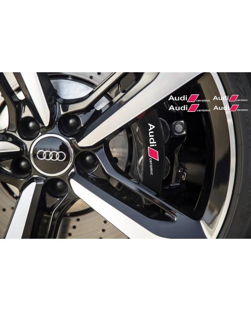 Aufkleber passend für Audi Ceramic Bremssattel Spiegel Fenster Aufkleber 100mm 120mm