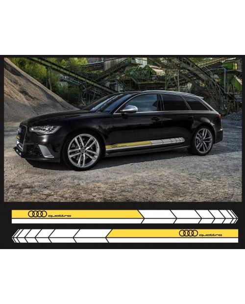 Aufkleber passend für Audi Quattro Seitenaufkleber Aufkleber Satz 200cm 2Stk. Satz