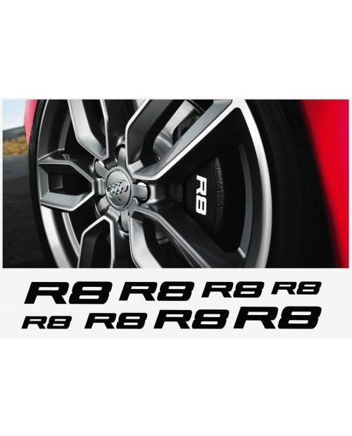 Aufkleber passend für Audi R8 Fenster- Bremssattel- Spiegel Aufkleber - 8 Stück im Set