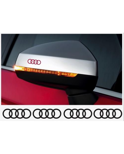 Aufkleber passend für Audi Ringe Felgen- Bremssattel- Spiegel Aufkleber - 4 Stück im Set 40mm