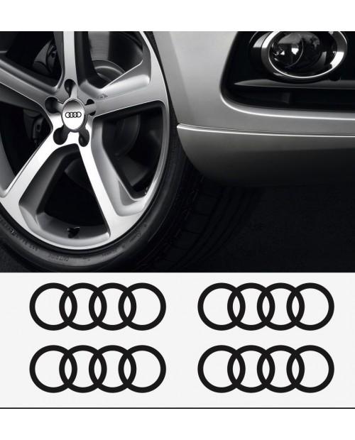 Aufkleber passend für Audi Ringe Felgen- Bremssattel- Spiegel Aufkleber - 4 Stück im Set 60mm