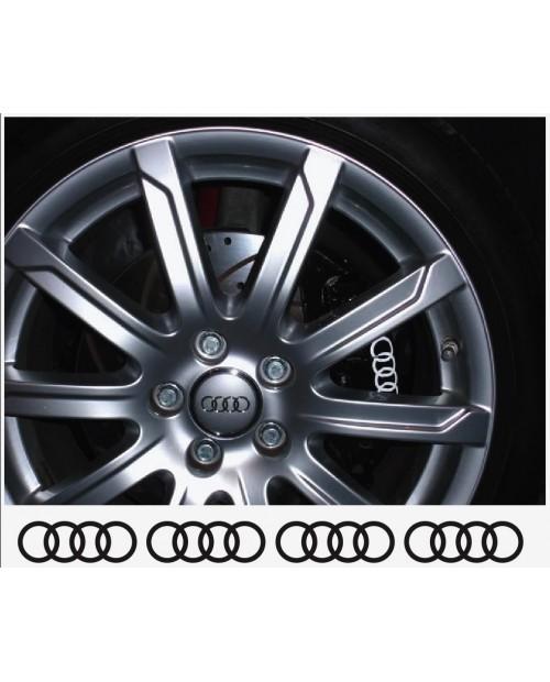 Aufkleber passend für Audi Ringe Felgen- Bremssattel- Spiegel Aufkleber - 4 Stück im Set 80mm