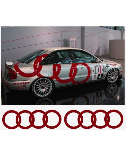 Aufkleber passend für Audi Ringe Seitenaufkleber Aufkleber Satz 225cm