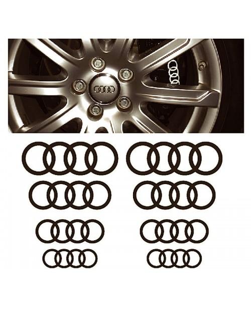 Aufkleber passend für Audi Ringe Fenster- Bremssattel- Spiegel Aufkleber - 8 Stück im Set