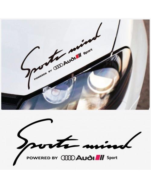 Aufkleber passend für Audi SPORT MIND Powered by Audi Seitenaufkleber Aufkleber 40cm 2Stk. Satz