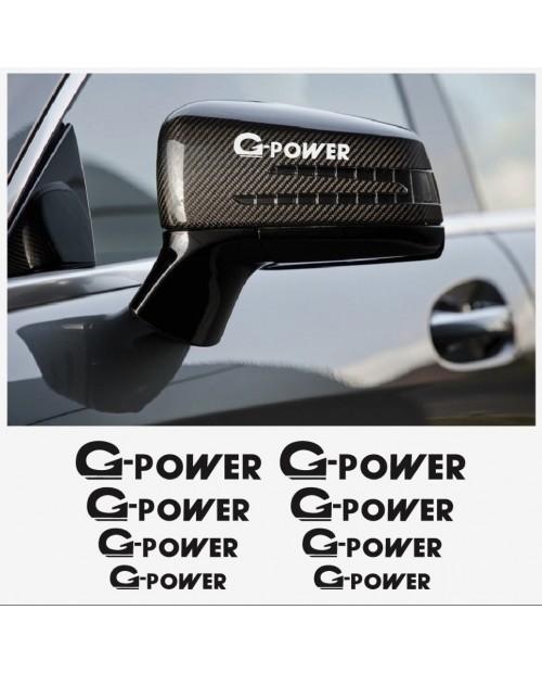 Aufkleber passend für BMW G Power Fenster- Bremssattel- Spiegel Aufkleber - 8 Stück im Set