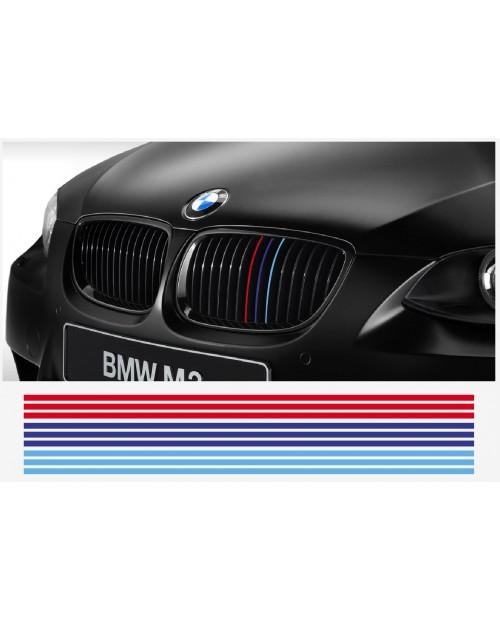 Aufkleber passend für BMW M Performance M Streifen Aufkleber Grill Kühlergrill 22cm 12Stk  Satz
