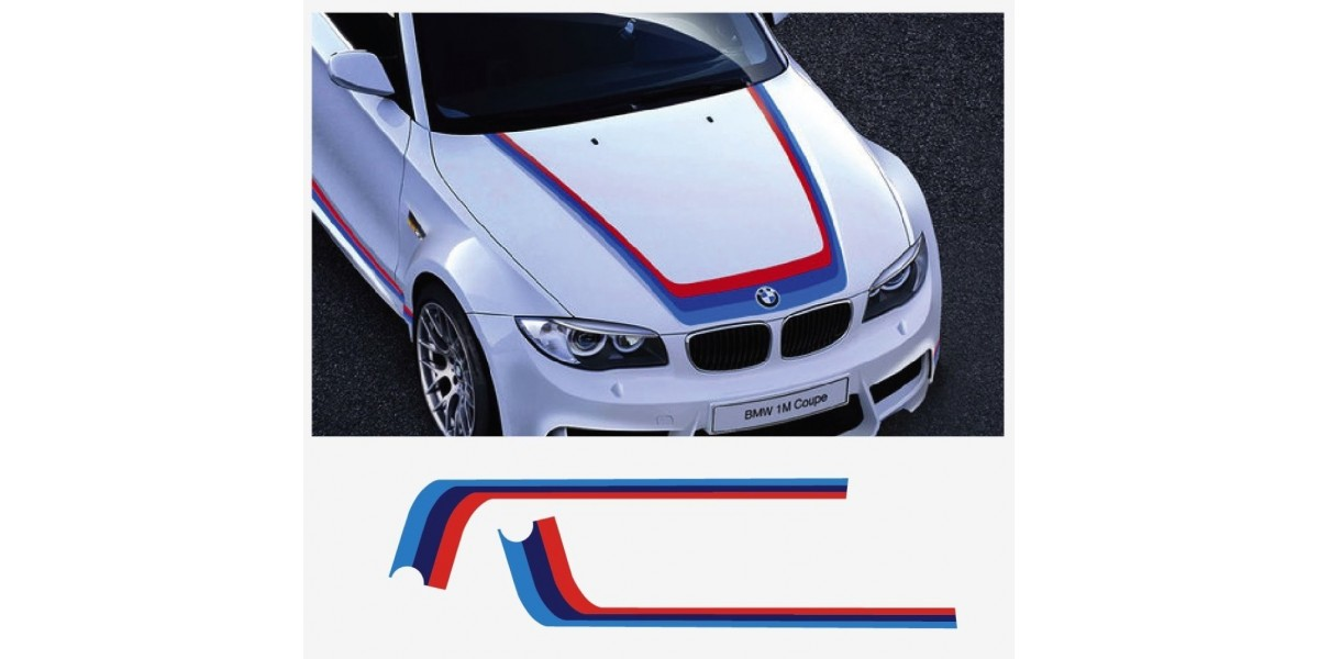 Decal To Fit Bmw M Performance M Stripe Bonnet Decal Set Bmw0082 For Bmw