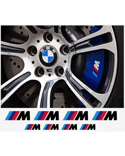 Aufkleber passend für BMW M Fenster- Bremssattel- Spiegel Aufkleber - 8 Stück im Set