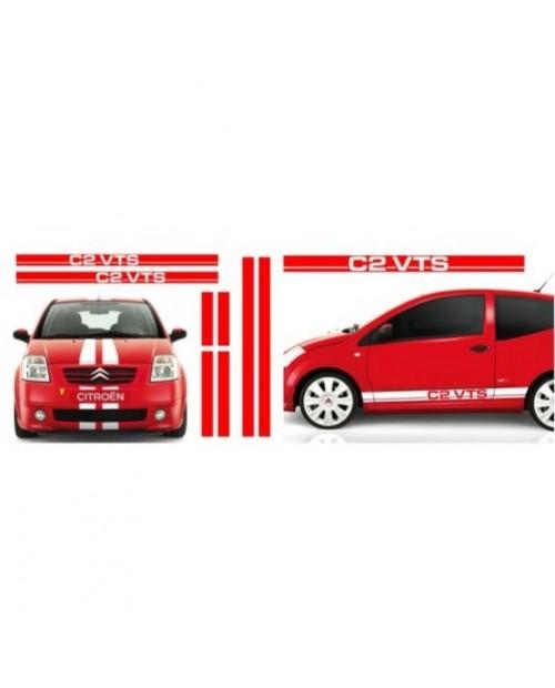 Aufkleber passend für Citroen C2 VTS Rennstreifen Racing Stripes Aufkleber Komplet Satz 5 Stk.
