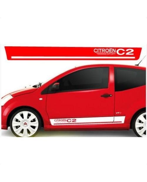 Aufkleber passend für Citroen C2 VTS Seitenaufkleber Aufkleber 180cm 2 Stk. Satz