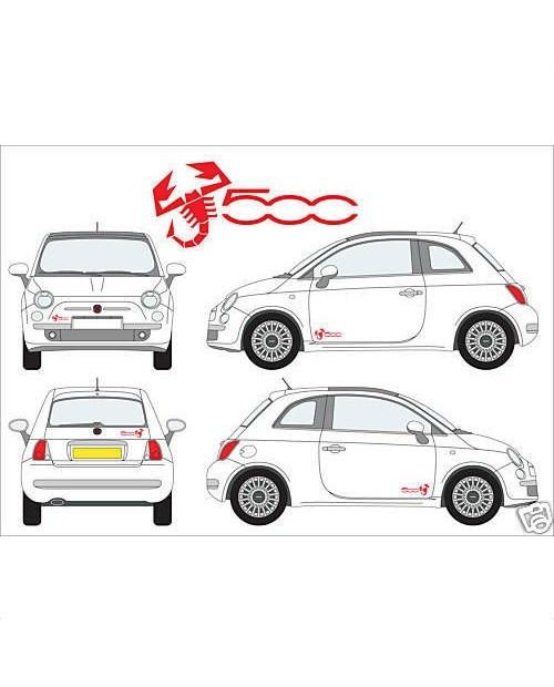 Aufkleber passend für Fiat 500 Abarth Skorpio Skorpionen Seitenaufkleber Aufkleber 4 Stk. Satz