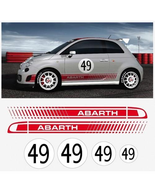 Aufkleber passend für Fiat 500 Assetto Corsa Aufkleber Abarth 6 Stk. Komplett Satz
