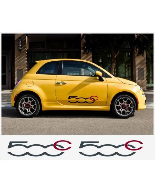 Aufkleber passend für Fiat 500 C Seitenaufkleber Aufkleber - 2 Stück im Set 80cm