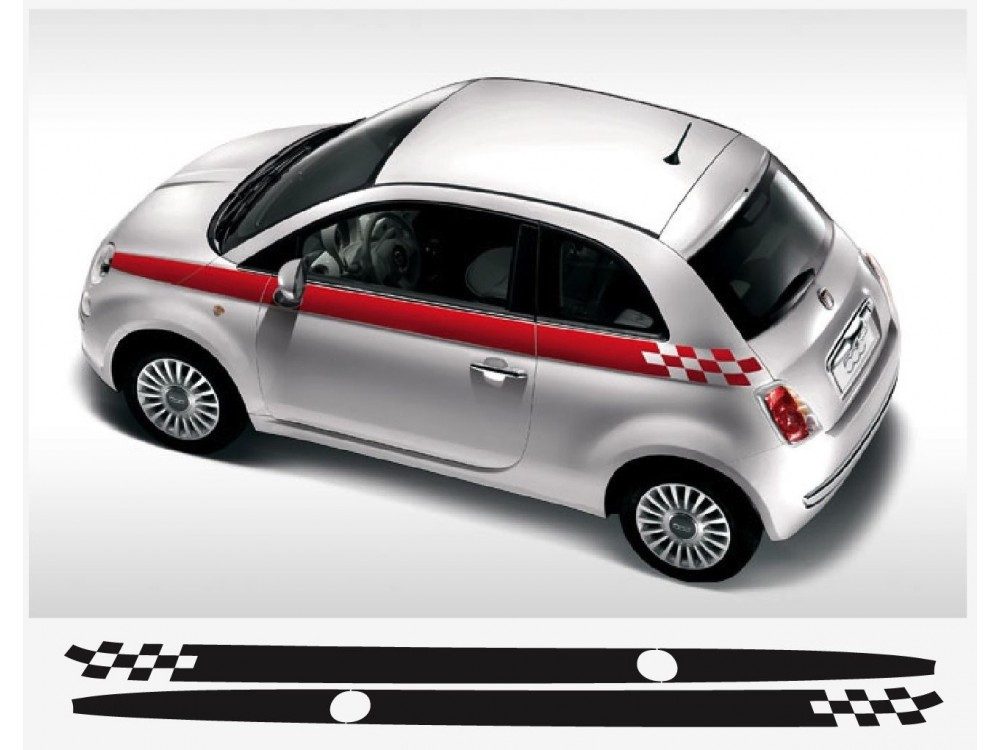 Decal To Fit Fiat 500 Side Decal 2 Pcs Set Fia0055 For