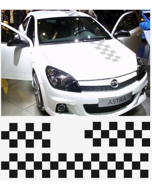 Aufkleber passend für Opel OPC Motorhaube Dachaufkleber Heckaufkleber Zielflagge Streifen Satz Astra