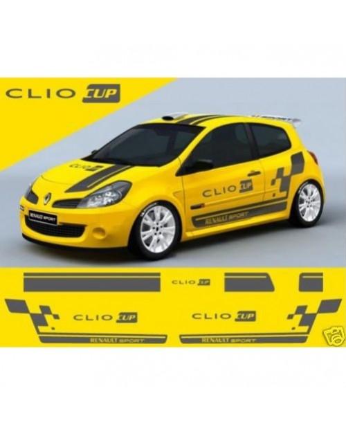 Aufkleber passend für Renault Clio Cup Rennstreifen Racing Stripes Aufkleber Komplet Satz 8 Stk.
