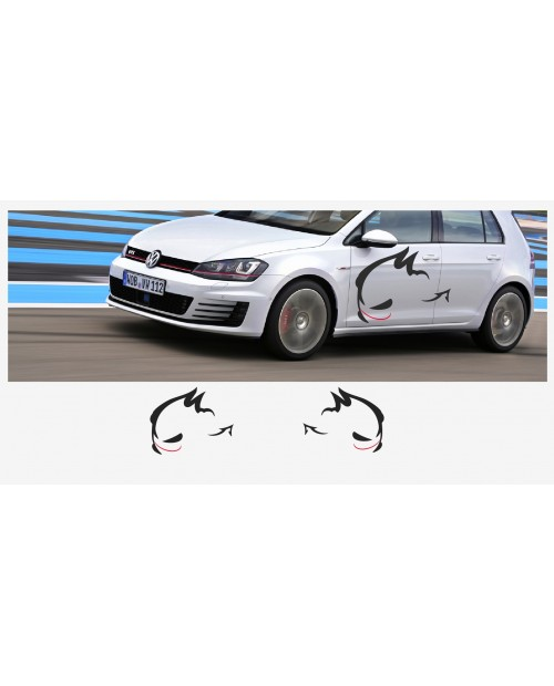 Aufkleber passend für VW Evil Rabbit Racing Seitenaufkleber 110cm 2Stk. Satz