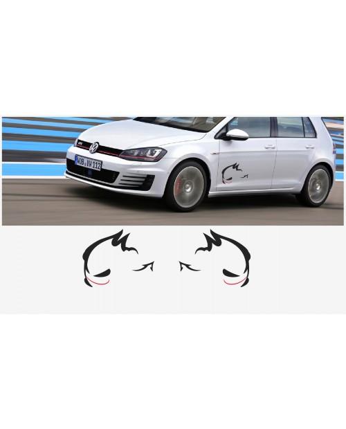 Aufkleber passend für VW Evil Rabbit Racing Seitenaufkleber 50cm 2Stk. Satz