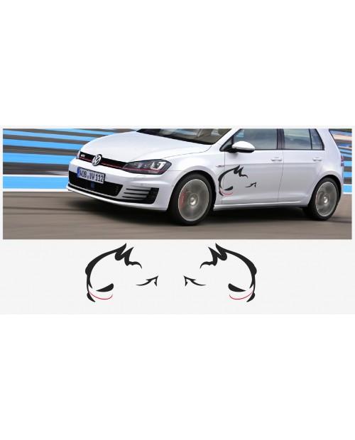 Aufkleber passend für VW Evil Rabbit Racing Seitenaufkleber 70cm 2Stk. Satz
