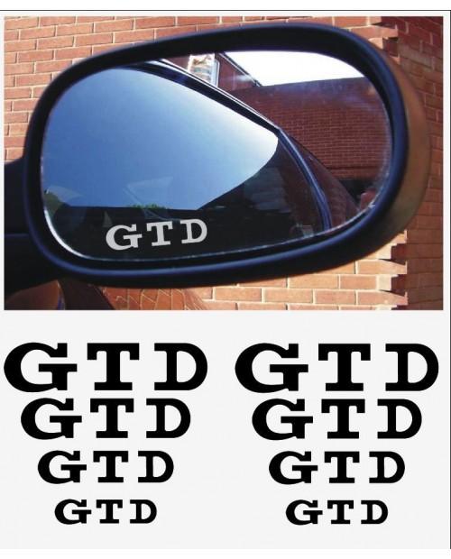 Aufkleber passend für VW GTD Fenster- Bremssattel- Spiegel Aufkleber - 8 Stück im Set