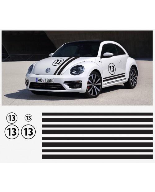 Aufkleber passend für VW New Beetle Rennstreifen Racing Stripes Aufkleber Satz 13